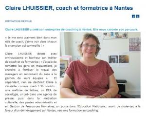 Capture d'écran d'un extrait de la page du site web de la BGE des Pays de la Loire présentant Claire Lhuissier et le cabinet VALUE ACTION Coaching