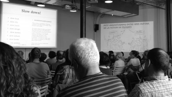 Conférence 'Faut-il ralentir le progrès' de Bernadette BENSAUDE-VINCENT avec ilustrations de GUF